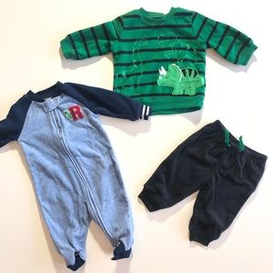 0-3 Month Carters Dinosaur Fleece Bundle PJ Outfit